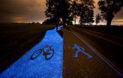 В Польше создали велодорожку, которая светится без электричества