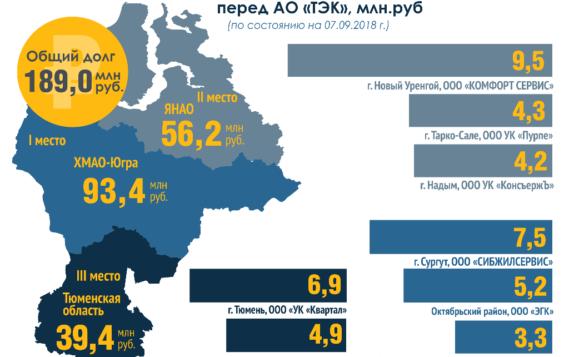 Антирейтинг территорий, имеющих наибольшую дебиторскую задолженность за электроэнергию со стороны управляющих компаний, бюджетных организаций и предприятий ЖКХ, представила Тюменская энергосбытовая компания