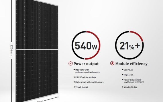 LONGi представила солнечный модуль 540 Вт на новых пластинах М10